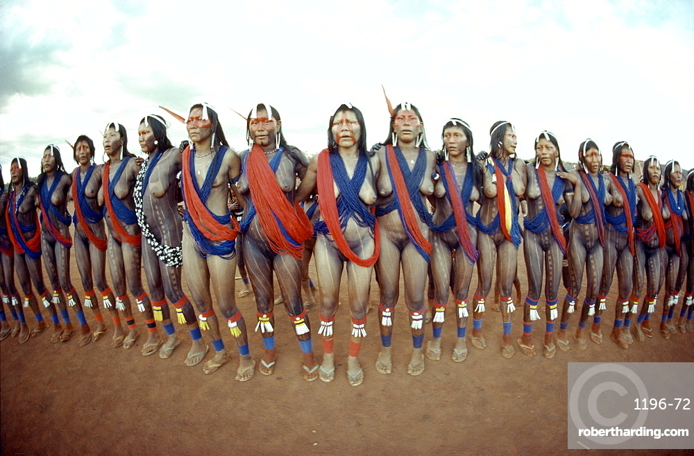 Kayapo Women Dancing Traditional Dances,  Stock Photo-1129