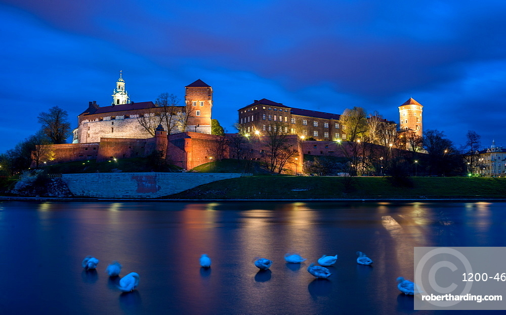 Wawel Hill Castle and Cathedral, Vistula River with swans, illuminated at night, Krakow, Poland, Europe