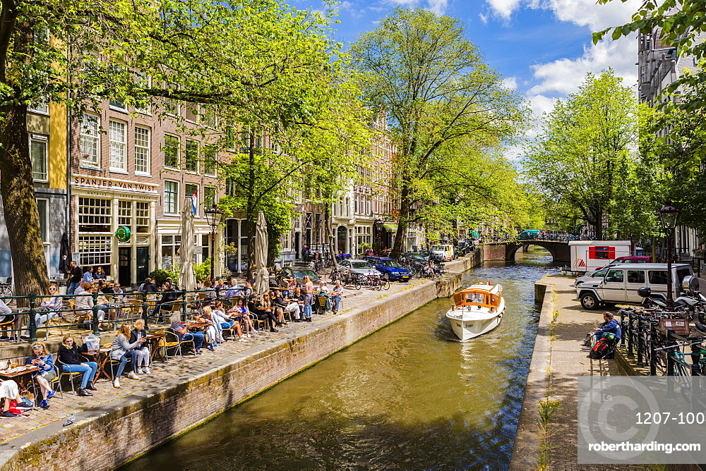 Boat on the Prinsengracht Canal, Amsterdam, Netherlands, Europe