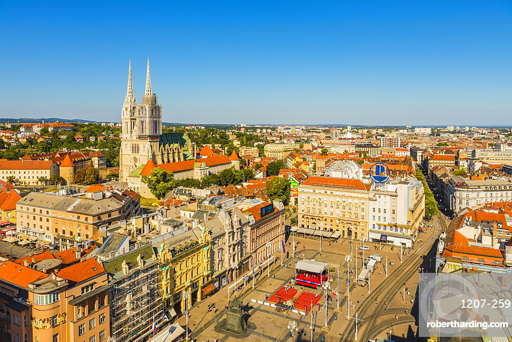 View of Ban Jelacic Square and Cathedral of the Assumption of the Blessed Virgin Mary, Zagreb, Croatia, Europe