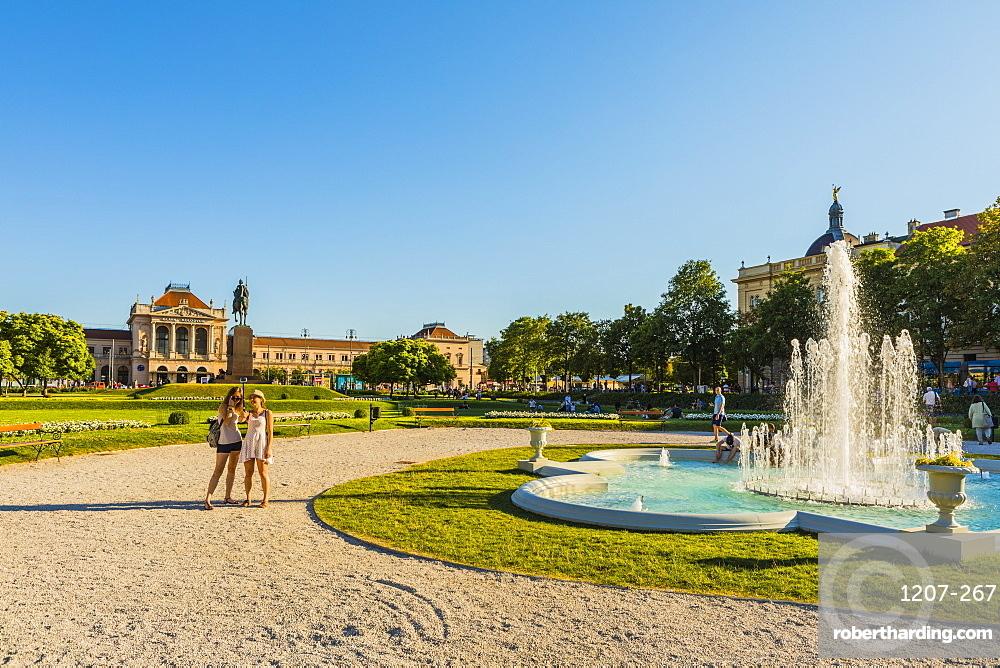Fountain in King Tomislav Square, Zagreb, Croatia, Europe