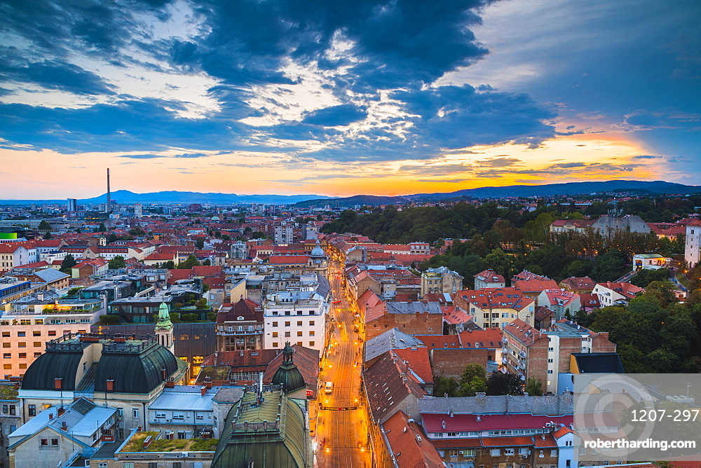 View of the city at night, Zagreb, Croatia, Europe