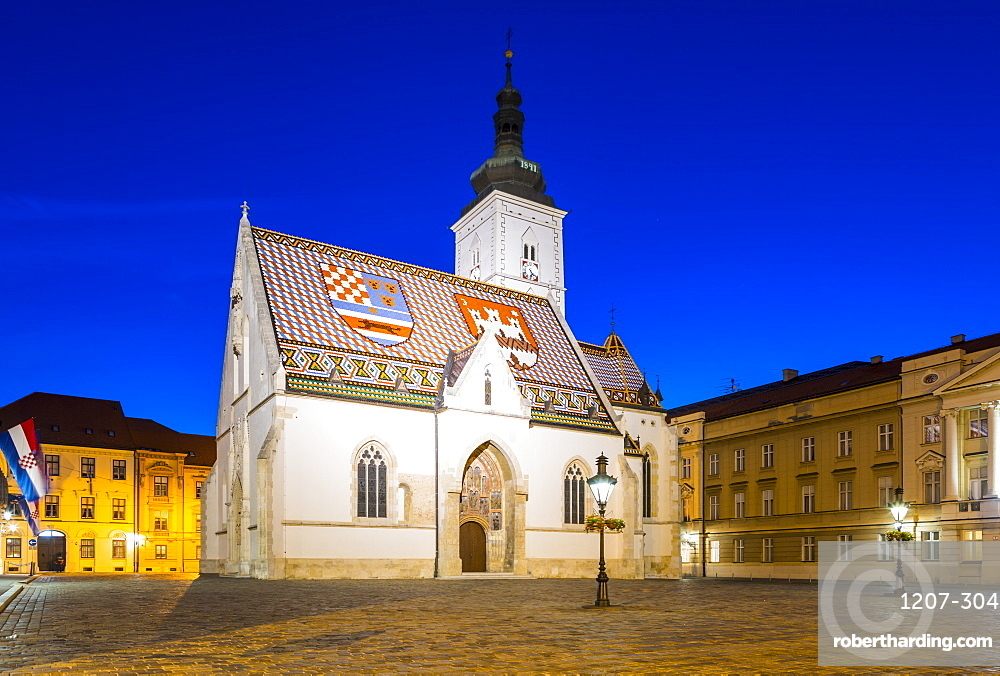 St. Mark's church on Market Square at night, Government Quarter, Upper Town, Zagreb, Croatia, Europe