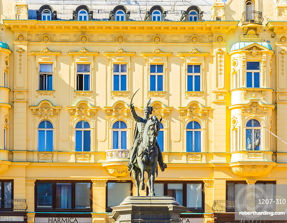 Ban Jelacic monument on Ban Jelacic Square, Zagreb, Croatia, Europe