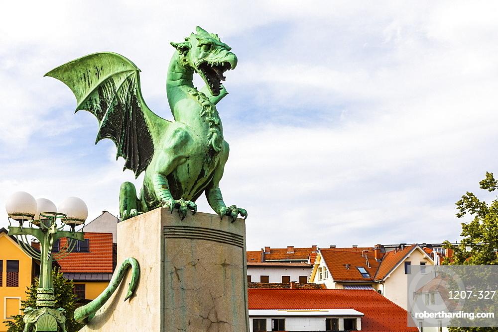 Dragon sculptures on Dragon Bridge, Ljubljana, Slovenia, Europe