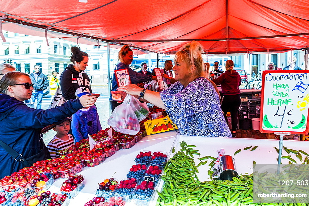 Fruit and vegetable stall at market in Helsinki, Finland, Uusimaa, Europe