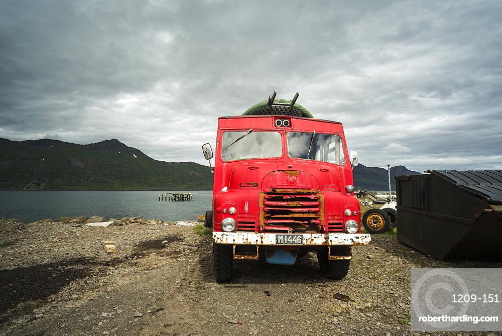 Djupavik, Strandir Coast, Westfjords, Iceland. Old fire engine.