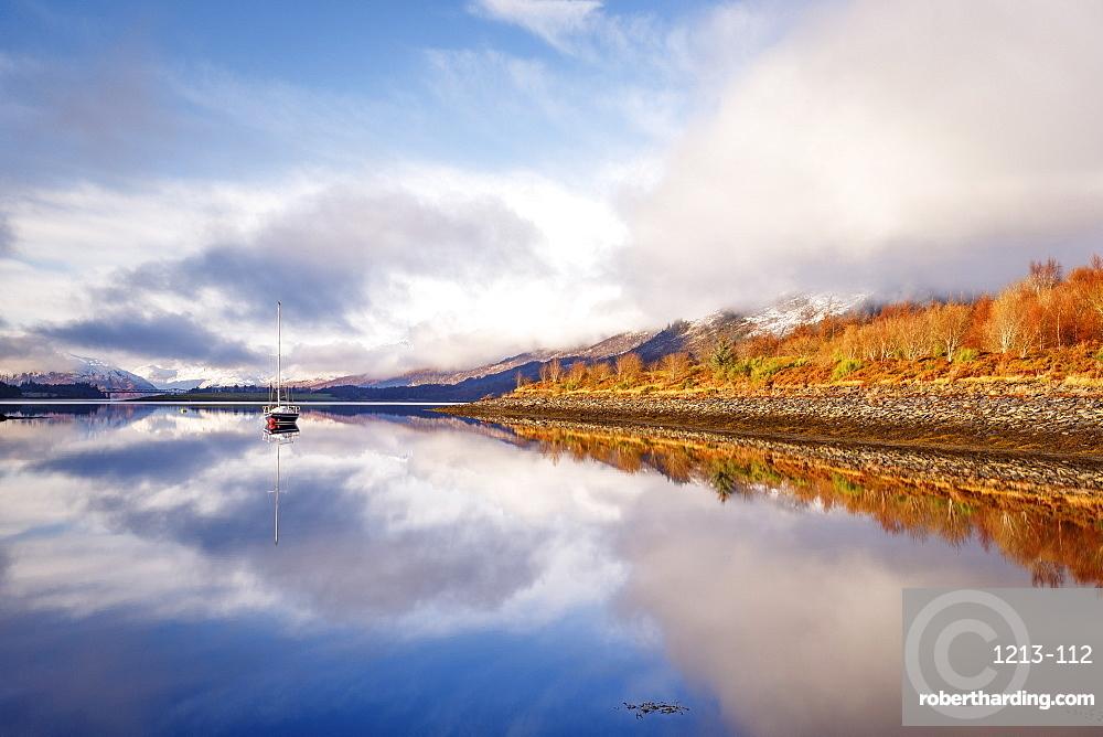The still waters of Loch Leven near Ballachulish on a winter's morning, Glencoe, Highlands, Scotland, United Kingdom, Europe