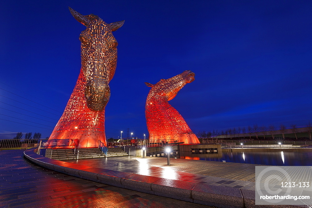The Kelpies at the entrance to the Forth and Clyde Canal at Helix Park, Falkirk, Stirlingshire, Scotland, United Kingdom, Europe