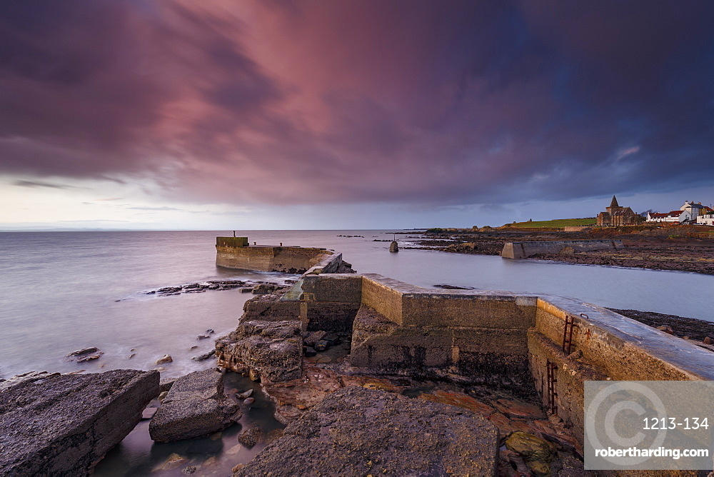 The Blocks (the ZigZag), breakwater at dawn at the harbour of St. Monans in Fife, East Neuk, Scotland, United Kingdom, Europe