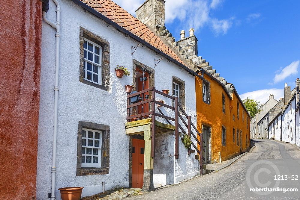Colourful houses in the quaint village of Culross, Fife, Scotland, United Kingdom, Europe