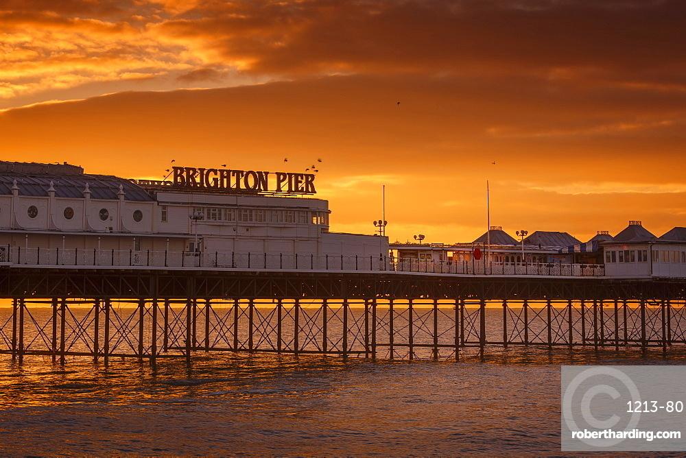 Brighton Pier at sunrise, Brighton, East Sussex, Sussex, England, United Kingdom, Europe