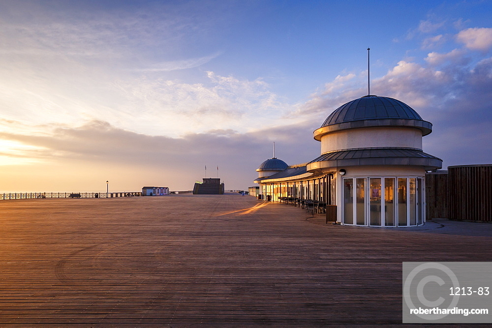 The pier at Hastings at sunrise, East Sussex, England, United Kingdom, Europe