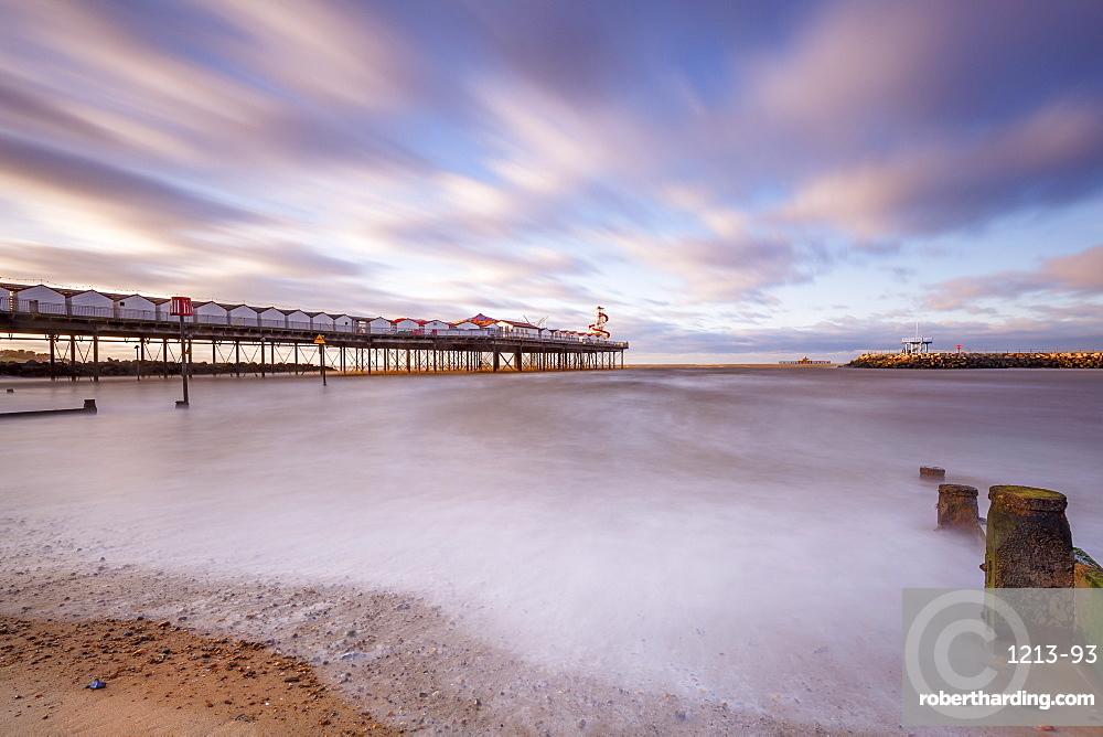 The evening sun hits Herne Bay Pier, Herne Bay, Kent, England, United Kingdom, Europe