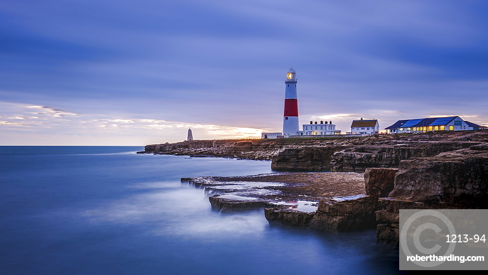 Portland Bill Lighthouse at sunset, Portland, Jurassic Coast UNESCO World Heritage Site, Dorset, England, United Kingdom, Europe