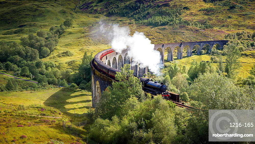 Harry Potter Train, Jacobite Express, Glenfinnan Viaduct, Inverness-shire, Highlands, Scotland, United Kingdom, Europe