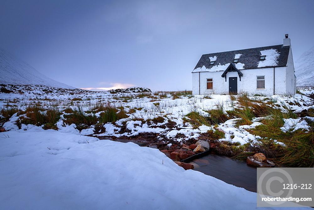Glencoe Bothy in winter, Highland Region, Scotland, United Kingdom, Europe