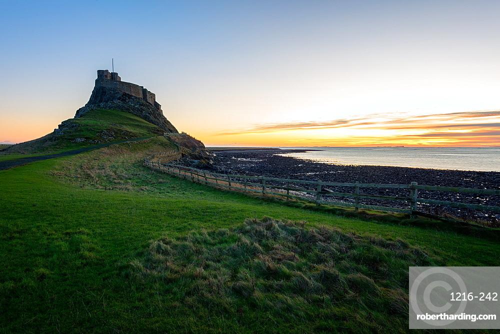 Lindisfarne Castle at sunrise, Holy Island, Northumberland, England, United Kingdom, Europe