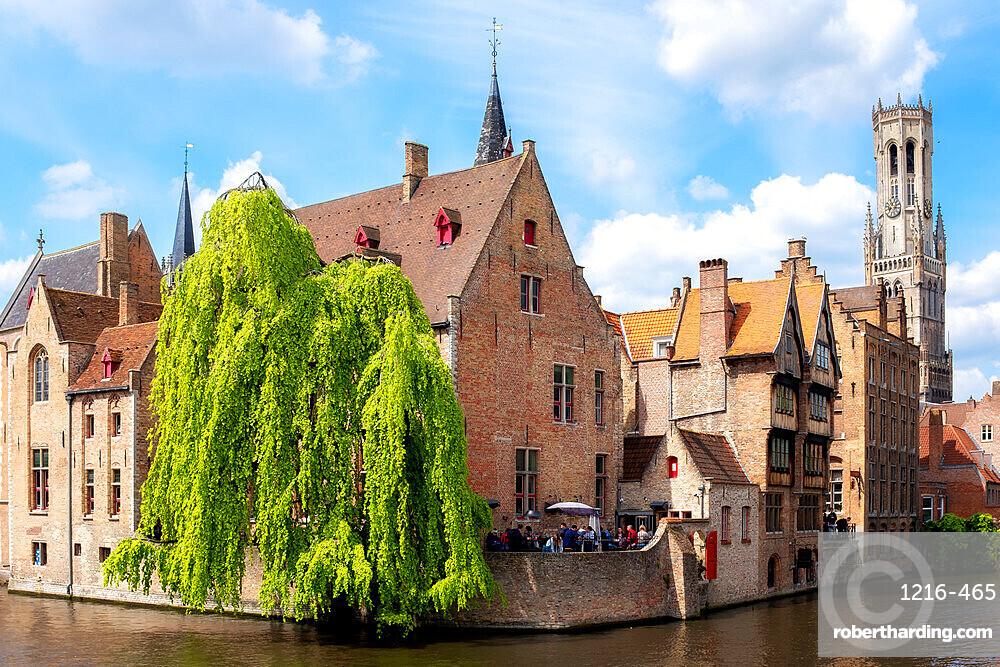 Medieval City Centre, UNESCO World Heritage Site, framed by Rozenhoedkaai canal, Bruges, West Flanders, Belgium, Europe