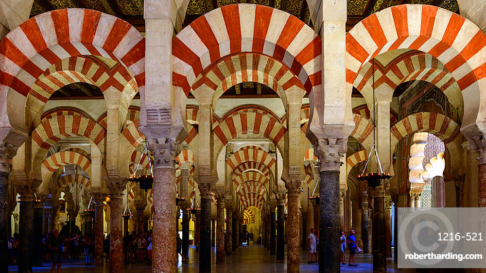 Decorated archways and columns of the Mezquita-Catedral (Great Mosque of Cordoba), UNESCO World Heritage Site, Cordoba, Andalusia, Spain, Europe