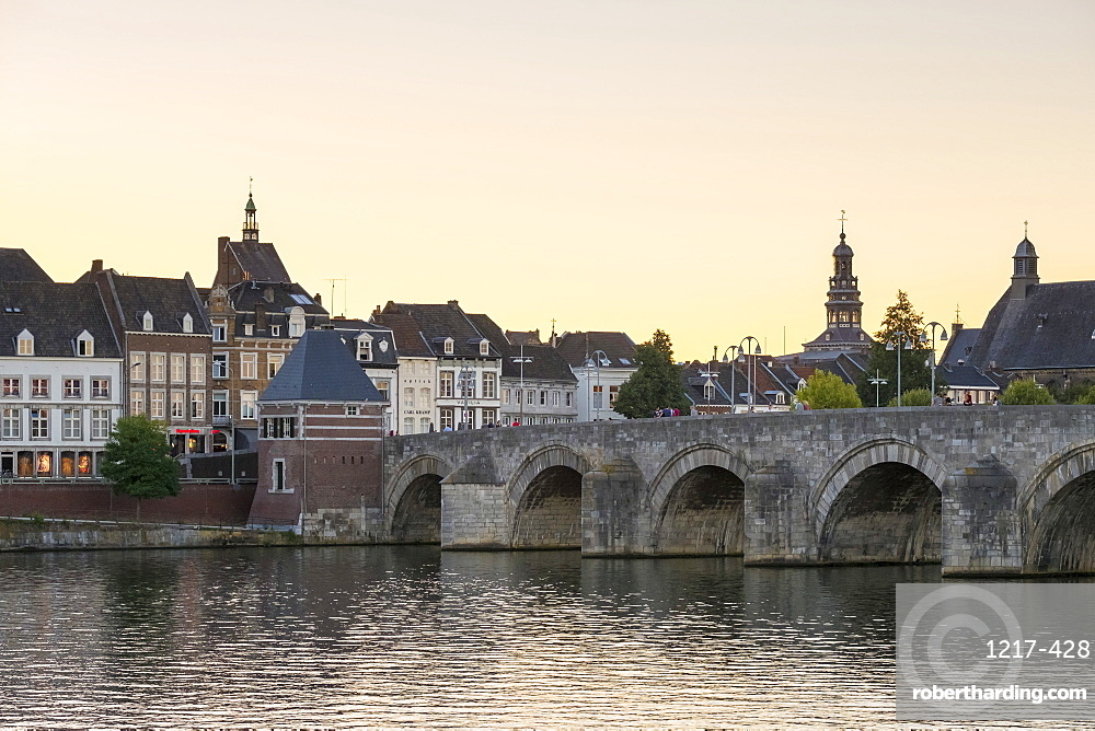 Buildings in the old town along the Meuse (Maas) River, Maastricht, Limburg, Netherlands, Europe