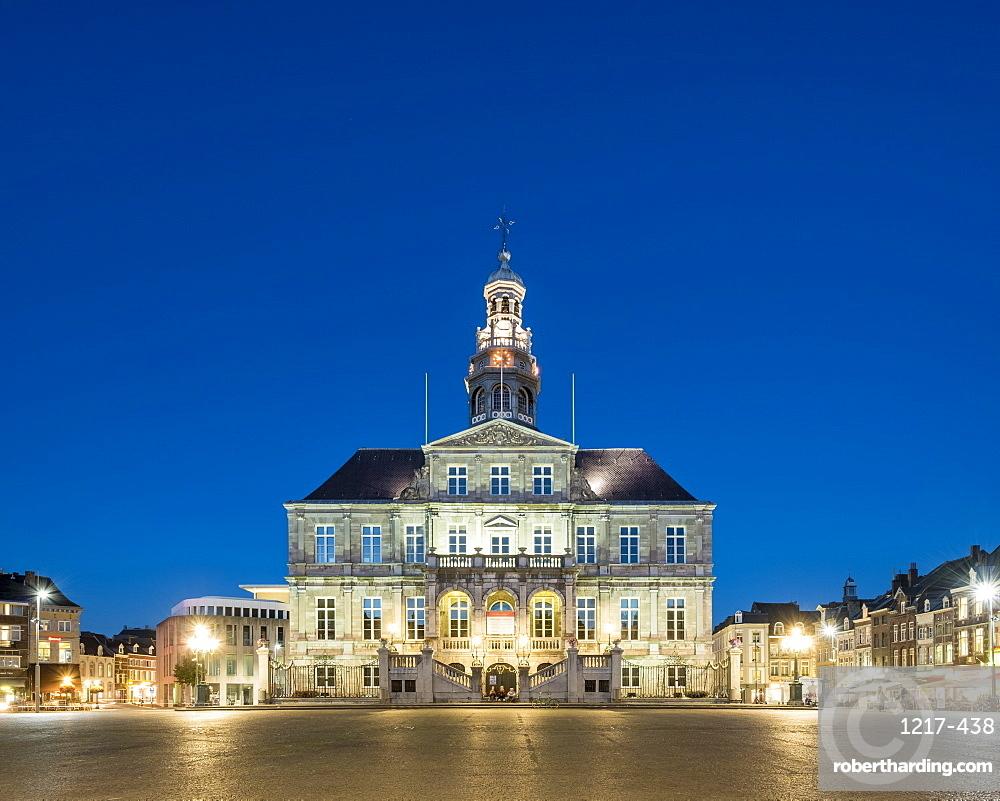 Stadhuis city hall on Markt square at dusk, Maastricht, Limburg, Netherlands, Europe