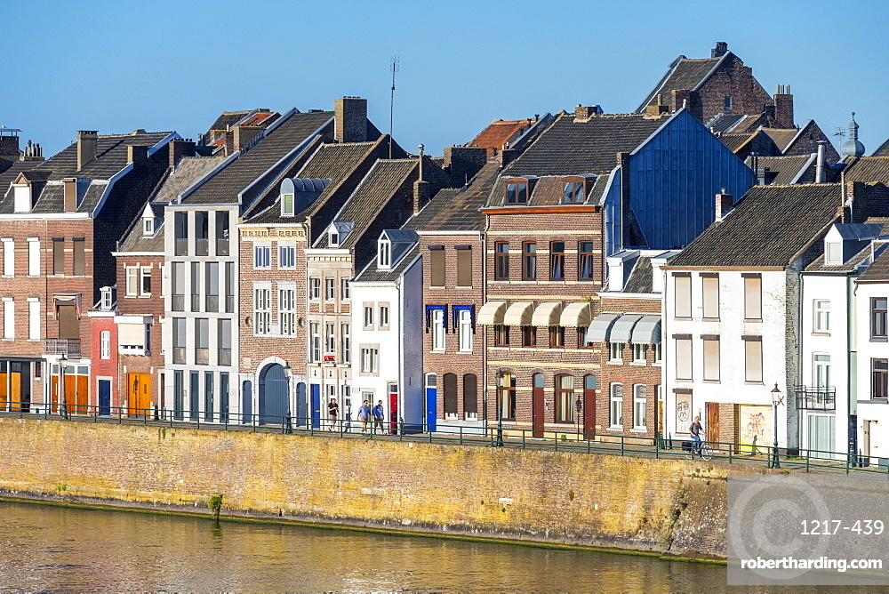 Buildings along the Meuse (Maas) River in the Wyck-Ceramique quarter, Maastricht, Limburg, Netherlands, Europe