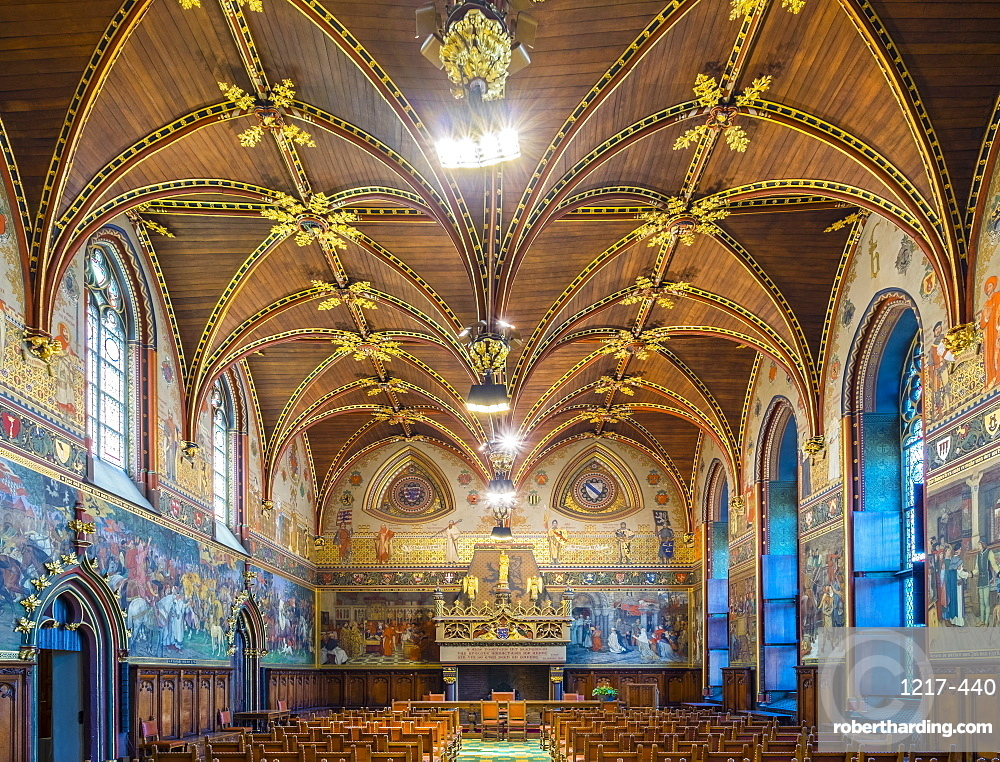 Interior of the Gothic Hall at Stadhuis van Brugge city hall, Bruges, West Flanders (Vlaanderen), Belgium, Europe