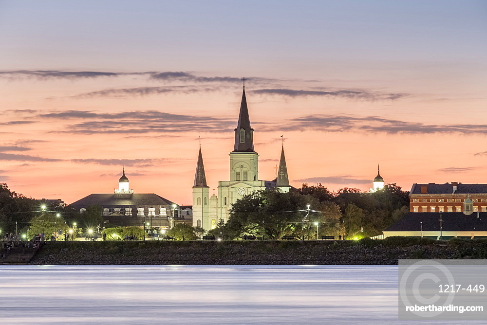 New Orleans skyline, view of Saint Louis Cathedral from across the Mississippi River at sunset, New Orleans, Louisiana, United States of America, North America