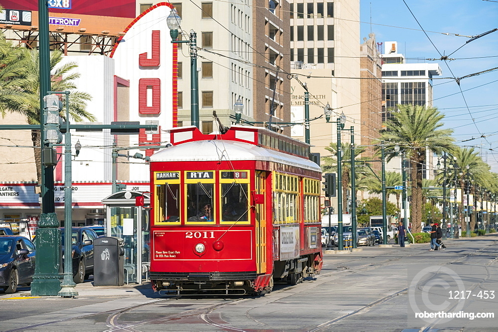 Canal Street streetcar line, French Quarter, New Orleans, Louisiana, United States of America, North America