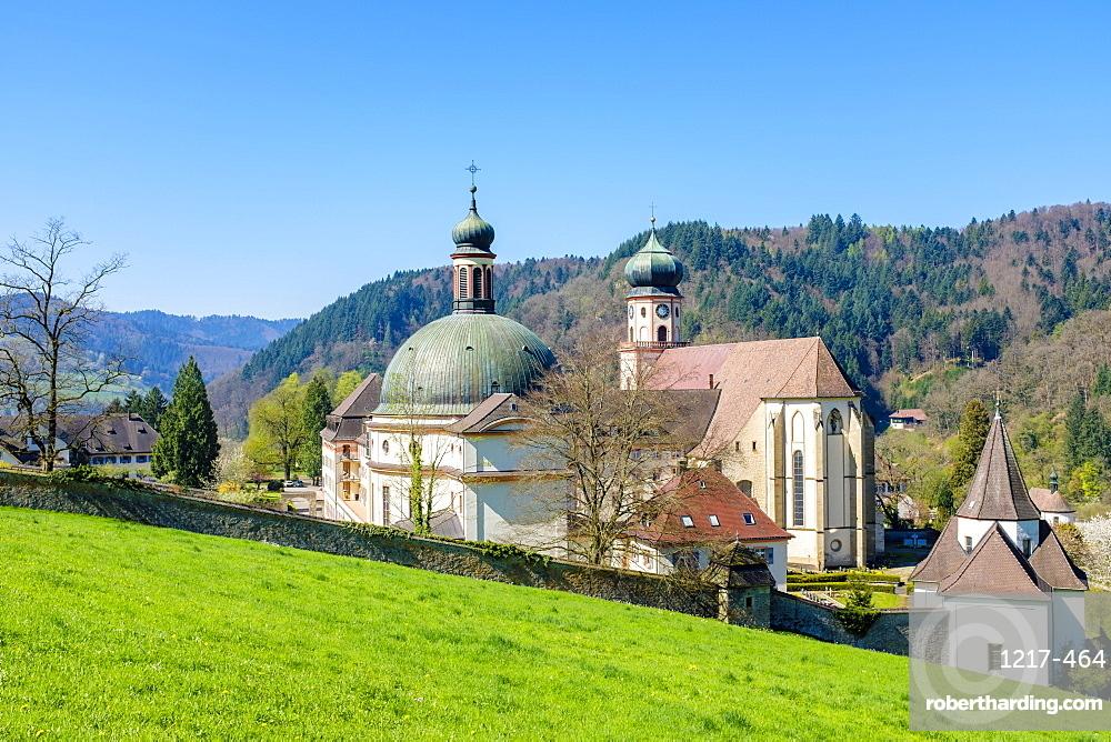 Monastery of Saint Trudpert (Kloster Sankt Trudpert) in spring. Munstertal, Breisgau-Hochschwarzwald, Baden-Wurttemberg, Germany, Europe