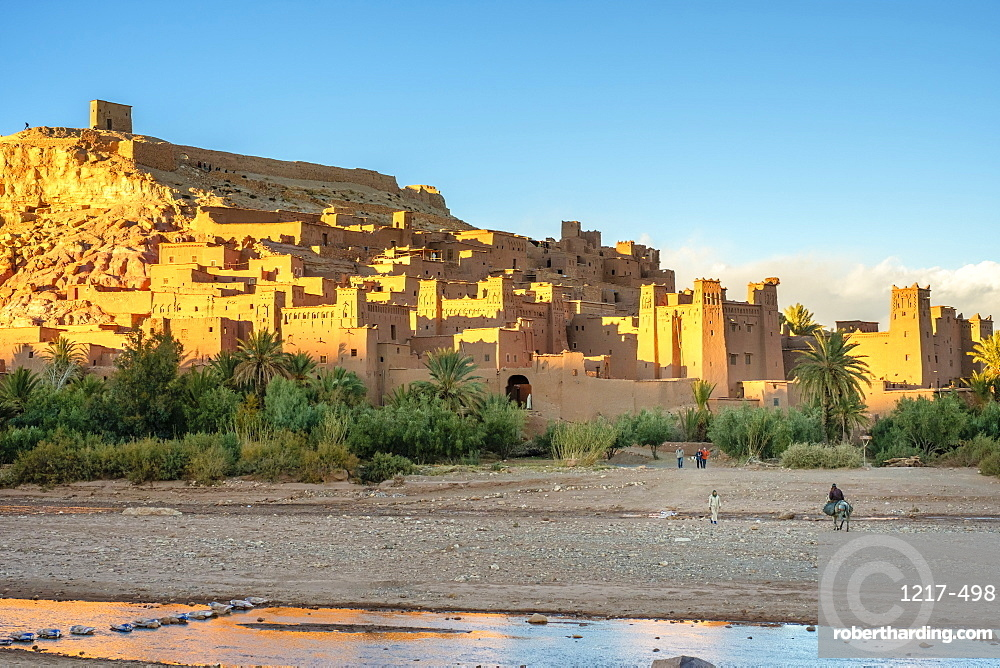 Man riding a horse in front of Ksar of Ait Ben Haddou (Ait Benhaddou), UNESCO World Heritage site, Ouarzazate Province, Souss-Massa-Draa, Morocco, North Africa, Africa