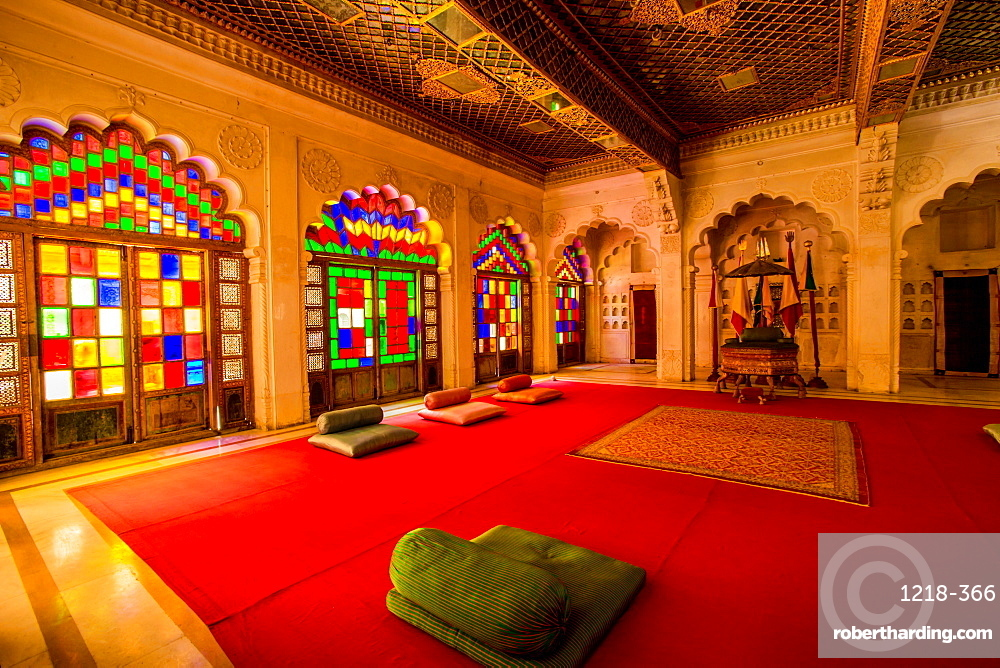 The Maharaja's sitting room in Mehrangarh Fort in Jodhpur, the Blue City, Rajasthan, India, Asia