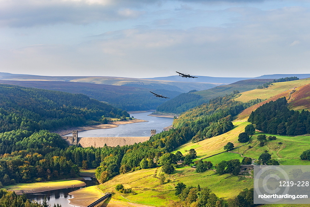Upper Derwent Valley with two Lancaster bombers passing the Derwent Dam in the style of 617 Squadron Dambusters, Peak District, Derbyshire, England, United Kingdom, Europe