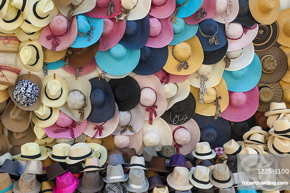 90505ba61785c Traditional Panama hats and Sombreros for sale at a street market in  Cartagena, Colombia,