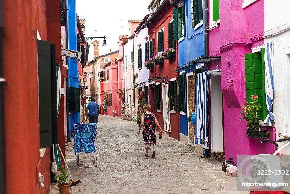 Colourful Burano houses, Venice, Veneto, Italy, Europe