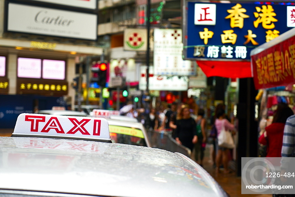 Taxi cab, Causeway Bay, Hong Kong Island, Hong Kong, China, Asia