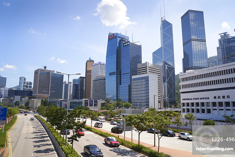 Modern towers along the harbour front on Hong Kong Island, Hong Kong, China, Asia