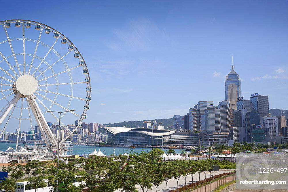 The Hong Kong Observation Wheel, Victoria Harbour, beyond is the International Convention Centre, Hong Kong Island, Hong Kong
