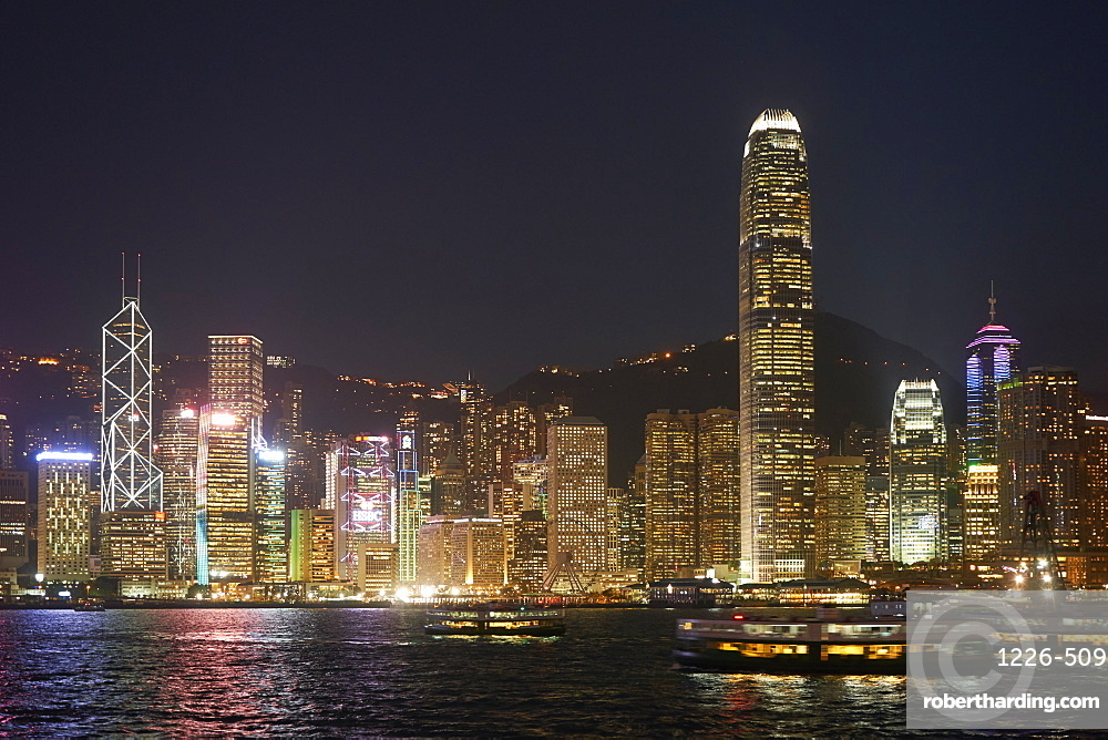 Hong Kong skyline. The financial centre on Hong Kong Island with Bank of China Tower and Two International Finance Centre, 2IFC.