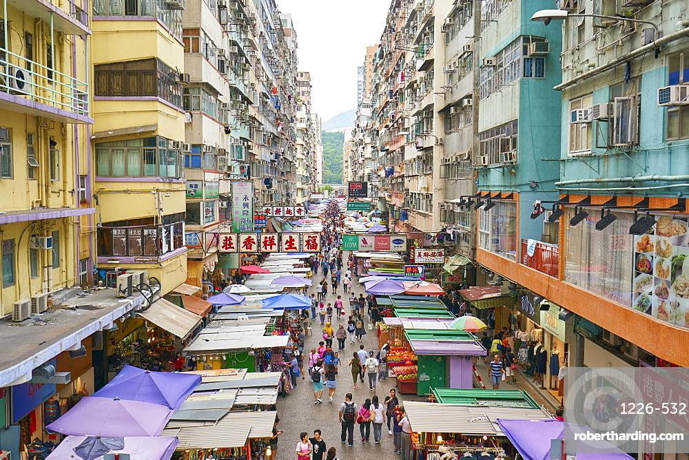 A busy market street in Mong Kok (Mongkok), Kowloon, Hong Kong