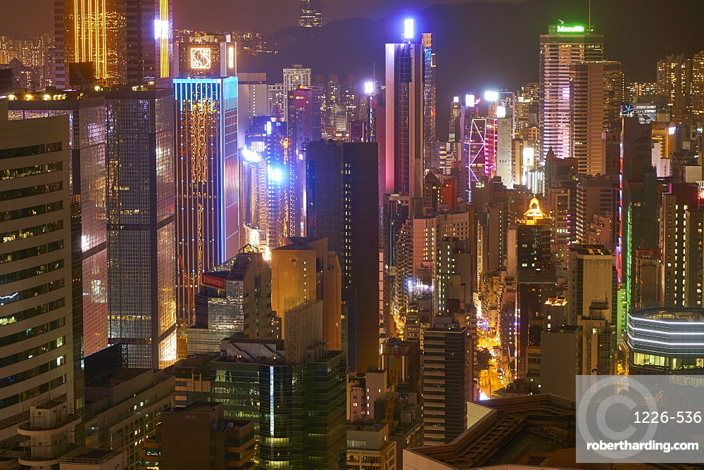 Hong Kong Island skyscrapers illuminated at night, Hong Kong