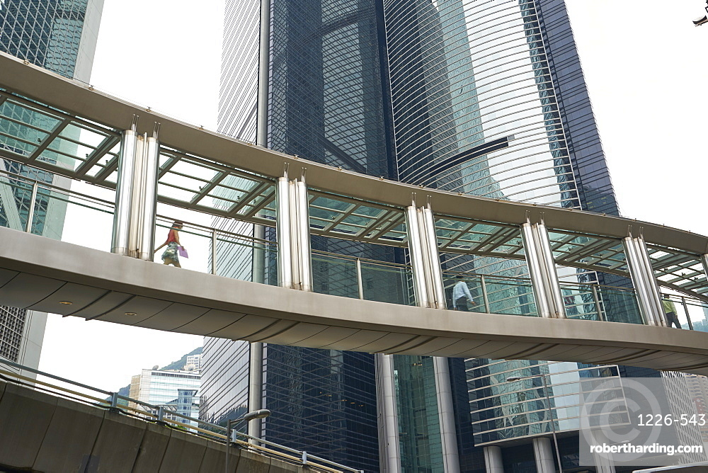 An aerial walkway in Central, Hong Kong's financial district, Hong Kong, China, Asia