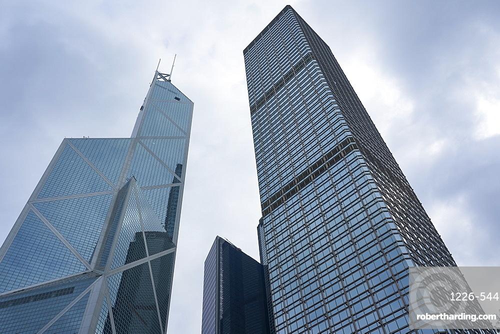 Bank of China Building and Cheung Kong Centre towers in Central, Hong Kong Island's financial district, Hong Kong, China, Asia