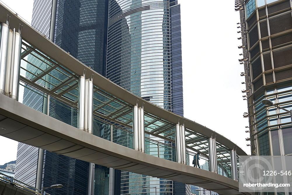 An aerial walkway in Central, Hong Kong's financial district, Hong Kong, China, Asia