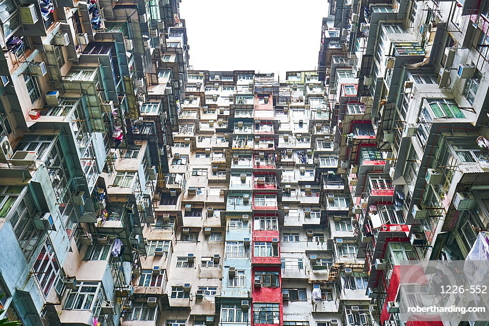 Densely crowded apartment buildings, Hong Kong Island, Hong Kong, China, Asia