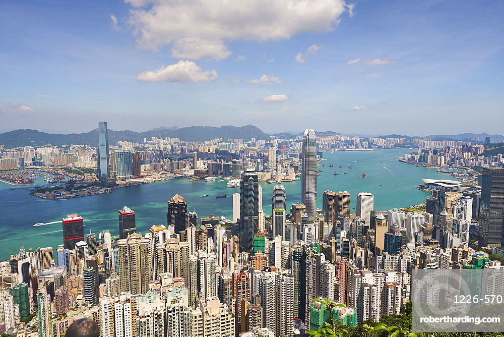 City skyline, viewed from Victoria Peak, Hong Kong, China, Asia