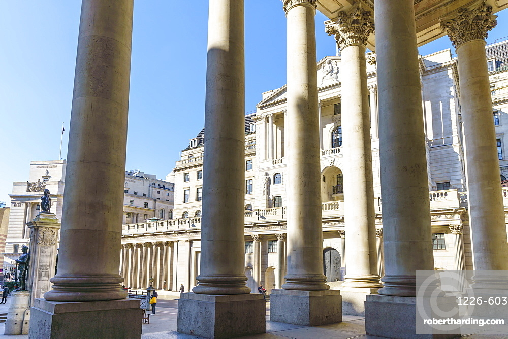Bank of England viewed from the Royal Exchange, City of London, London, England