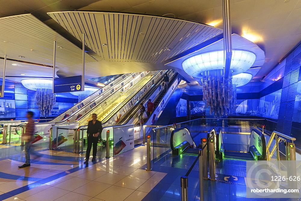 Interior of a metro station, Dubai, United Arab Emirates, Middle East