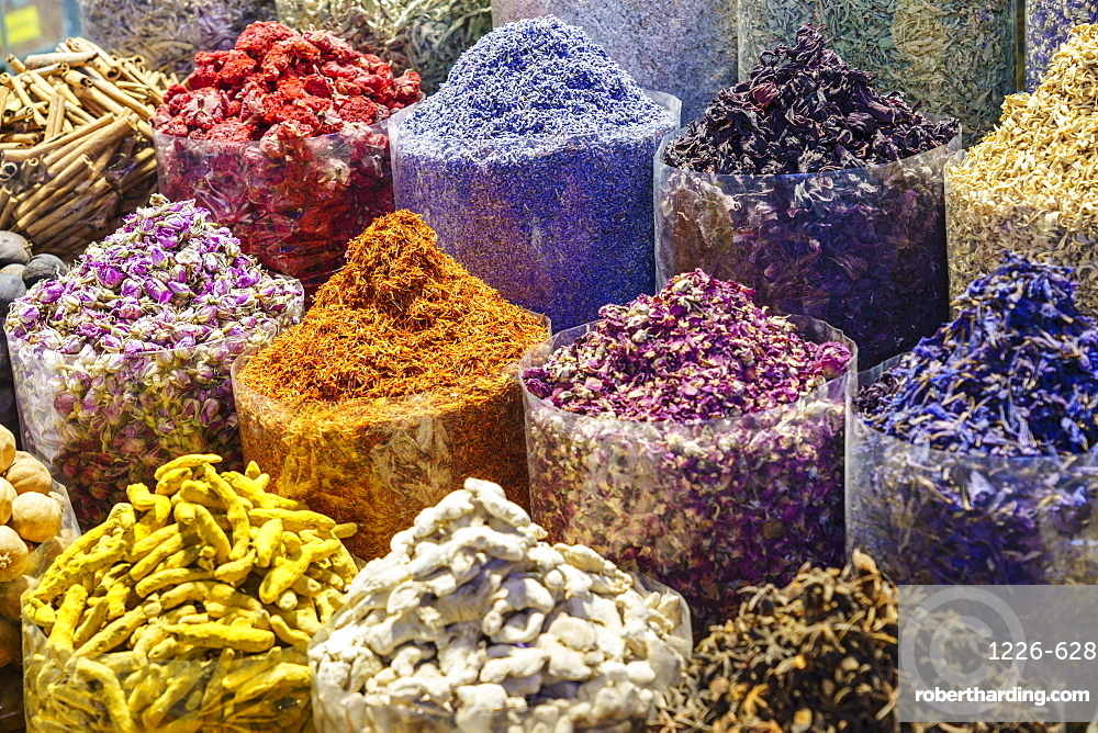 Spices for sale in the Spice Souk, Al Ras, Deira, Dubai, United Arab Emirates, Middle East